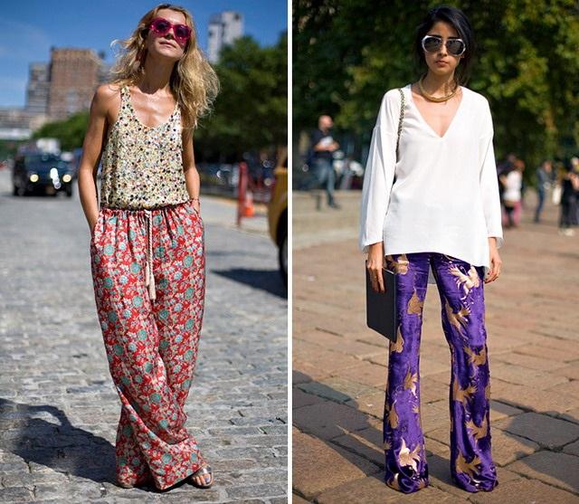 Девушки в широких пижамных штанах
