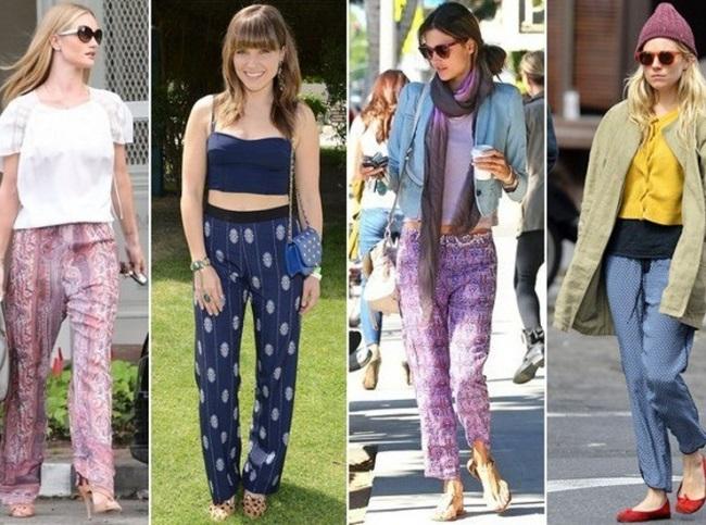 Девушки в стрит луках с пижамными штанами