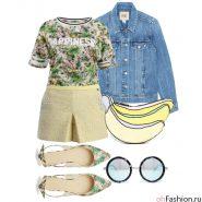 Джинсовая куртка, футболка с принтом, желтые шорты, розовые балетки, клатч