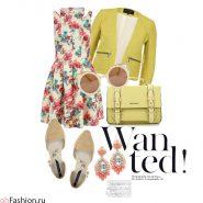 Летний лук с платьем с цветочным принтом, желтым жакетом и сумкой