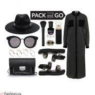 Летний образ в черном цвете. Платье-макси, шляпа, очки, сумка, сандалии