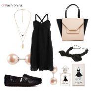 Молодежный образ, слипоны, черное платье на бретелях сумка пусеты