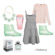 Нежный образ, розовый кардиган, резиновые сапоги серый сарафан