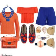 Образ в оранжево-синих цветах. Синие шорты, оранжевый джемпер, топ, сумка, слипоны