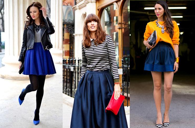 Повседневная элегантность стильные образы с синей юбкой