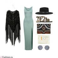 Стильный летний наряд. Голубое платье-макси, черная накидка, шляпа, золотые сандалии, клатч, очки, временное тату