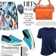 Яркая мини-юбка, синяя футболка, слипоны, оранжевая сумка, часы Kenzo