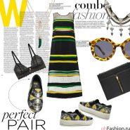 Яркий универсальный образ. Платье-макси, слипоны, очки, черный клатч, ожерелье
