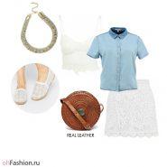 летний лук. Кружевная юбка и топ джинсовая рубашка и эспадрильи