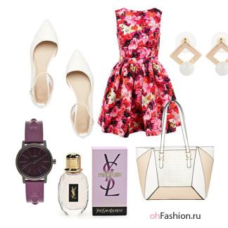 летний образ платье в цветок, белые балетки фиолетовые часы