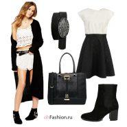 Черный длинный кардиган, ботильоны замшевые, черная сумка платье