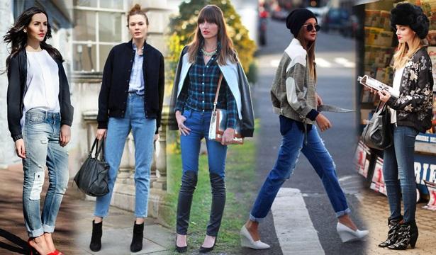 Девушки в джинсах и бомберах