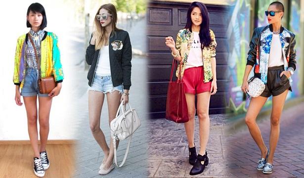 Девушки в разных шортах и бомберах