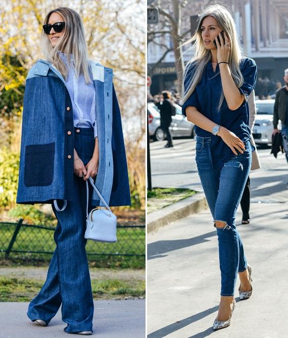 Девушки в тотал джинсовых луках