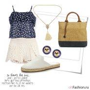 Летний легкий образ. топ с цветочным принтом шорты с кружевом и эспадрильи
