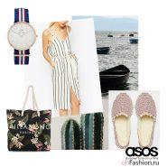 Летний лук для прогулки на пляже. Полосатое платье эспадрильи пляжная сумка и часы
