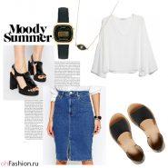 Летний лук. Прямая джинсовая юбка и белая блузка часы casio