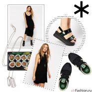 Повседневный лук на любой случай.Черное платье кроссовки new balance сандалии на платформе