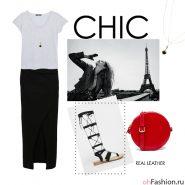 Женственный образ. Черная юбка макси с разрезом серая футболка и сандалии гладиаторы