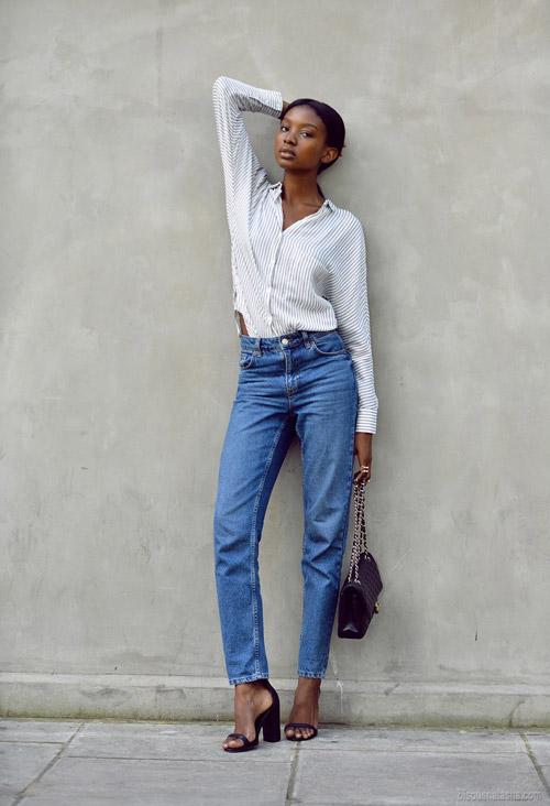 Когда не знаете что надеть - рубашка в полоску и джинсы с высокой талией - всегда уместный и современный образ