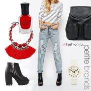 современный образ, джинсы ботинки ботильоны рюкзак черный