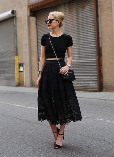 Кружевная черная длинная юбка