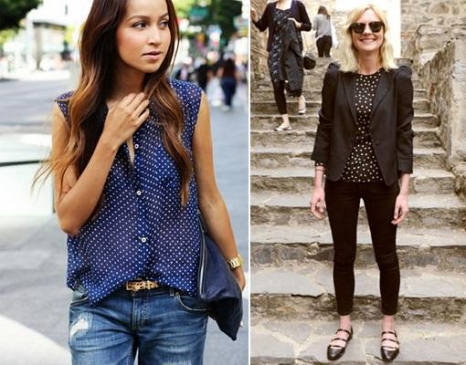 Девушки-в-синей-и-черной-блузках-в-горошек