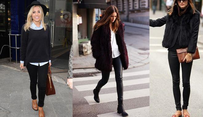 Девушки в узких черных брюках