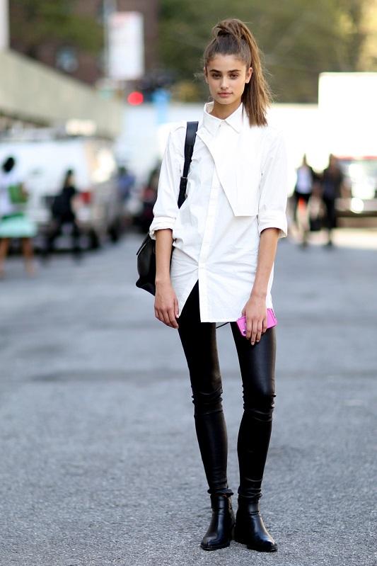 Молодежный образ, черные кожанные брюки белая рубашка