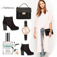 Пальто розовое длинное ботильоны коричневые сумка черная