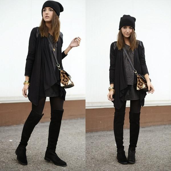 Девушка в черных ботфортах