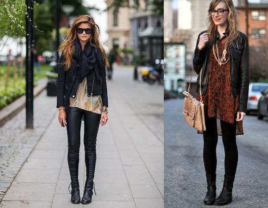Девушки в черных, кожаных куртках
