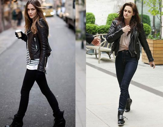 Девушки в джинсах и кожаных куртках косухах