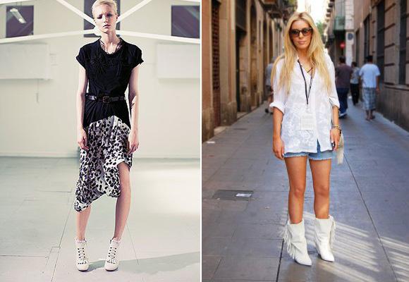 Девушки в джинсовых шортах и белых ботильонах