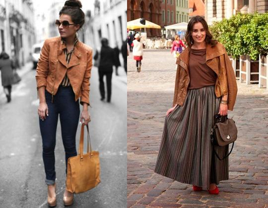 Девушки в коричневых куртках косухах