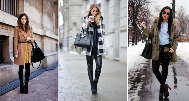 Девушки в пальто и черных ботильонах
