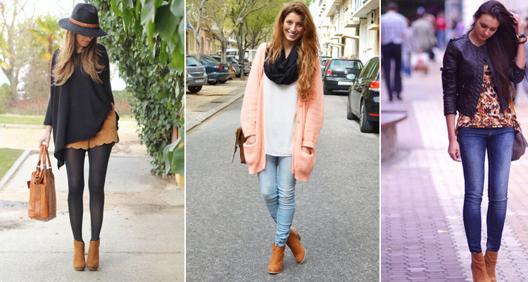 Девушки, в прохладную погоду, на улице в рыжих ботильонах