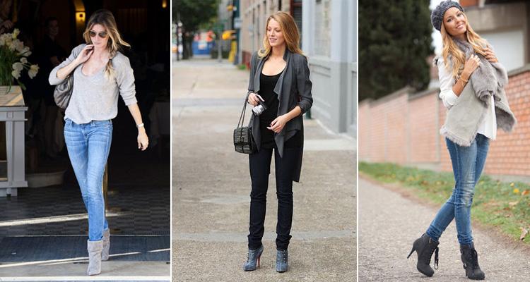 Девушки в серых ботильонах, джинсах на городских улицах