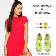 Лук с красным платьем и зелеными кедами