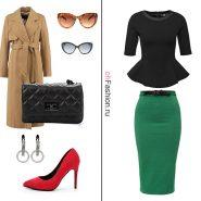 Лук с зеленой юбкой, черной блузой и стильным тренчем
