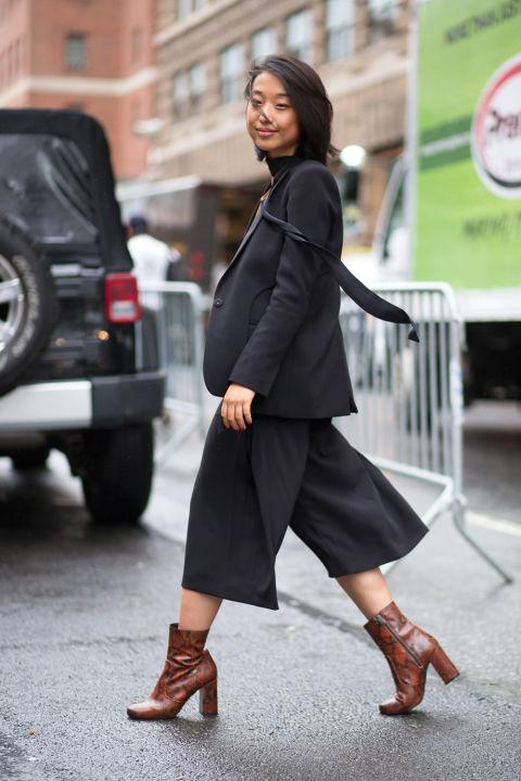 Однотонные черные кюлоты полюбились многим модницам. На фото Margaret Zhang