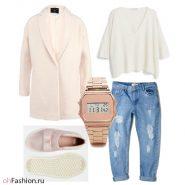 Нежный лук. джинсы бойфренды свитер с v-образным вырезом и пальто