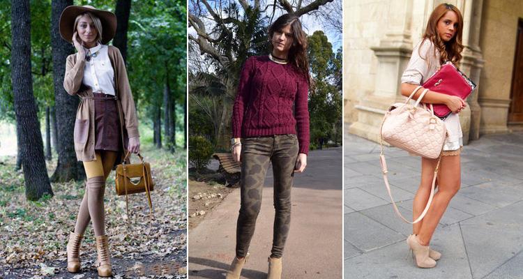 У девушек шикарный уличный лук с бежевыми ботильонами