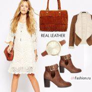 белое платье сумка рыжая коричневые ботильоны дубленка