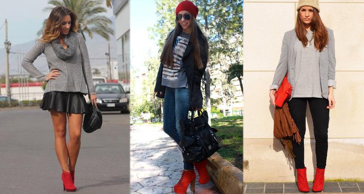 девушки в джинсах, юбке и красных ботильонах
