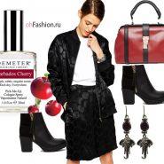 осенний образ винтажная сумка черная куртка