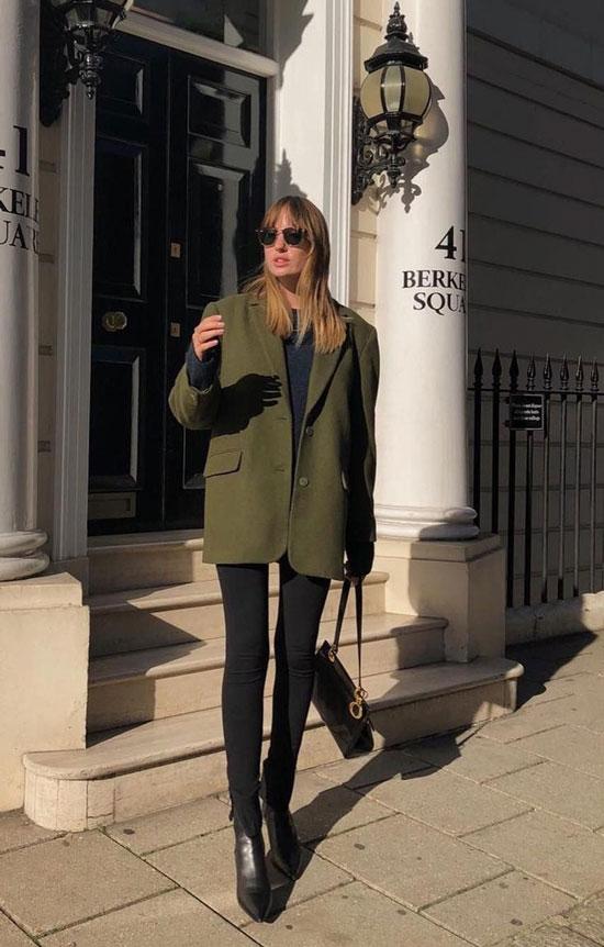 С чем носить женский зеленый жакет