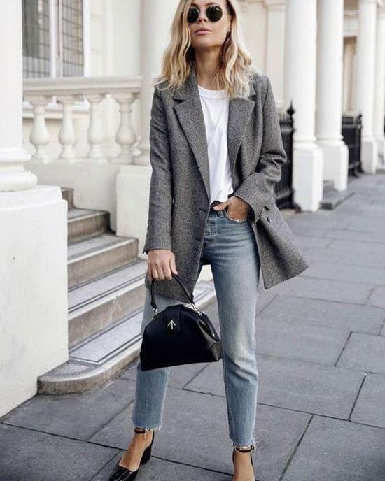 С чем носить женский серый жакет