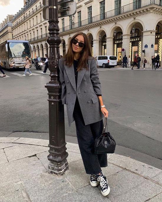 С чем носить серый жакет