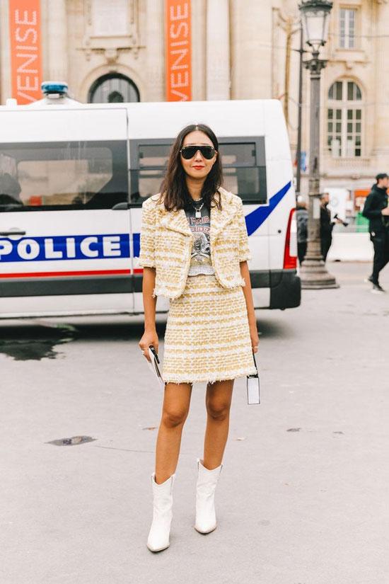 С чем женщинам носить жакет Шанель 2020
